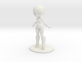 Girl DIY Figurine in White Natural Versatile Plastic