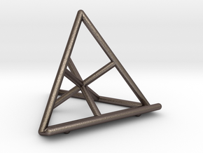 Tetrahedral Tablet Stand in Polished Bronzed Silver Steel
