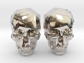 Cufflink Skull in Platinum