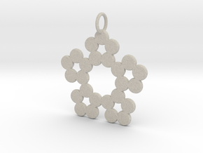 Circles Snowflake Pendant Charm in Natural Sandstone