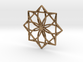 Modern Geometric Floral Pendant Charm in Natural Brass