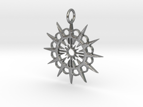 Abstract Patterned Circle Stylized Sun Pendant in Natural Silver