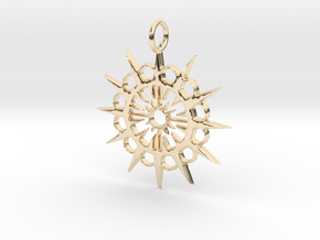 Abstract Patterned Circle Stylized Sun Pendant in 14K Yellow Gold