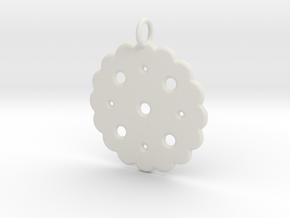 Cute Cookie Pendant Charm in White Natural Versatile Plastic