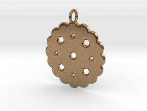 Cute Cookie Pendant Charm in Natural Brass