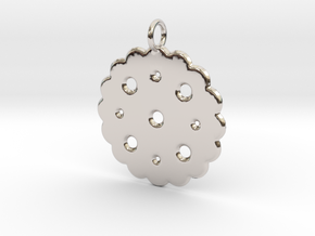 Cute Cookie Pendant Charm in Rhodium Plated Brass