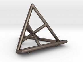 Tetrahedral Business Card Holder in Polished Bronzed Silver Steel