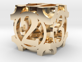 Daedal D6 - 16mm die in 14k Gold Plated Brass