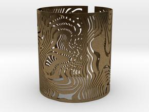 Wide Wavy Openwork Bracelet in Natural Bronze