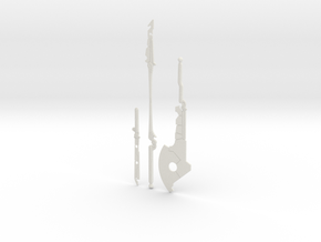 """BotW"" Guardian Weapons Set in White Natural Versatile Plastic: 1:12"