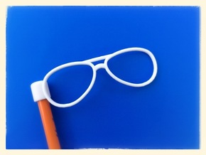Glasses Penciltop: The Flyer in White Processed Versatile Plastic