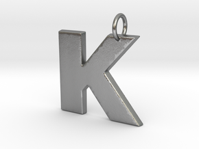 K Pendant in Natural Silver