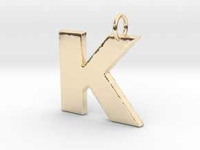 K Pendant in 14k Gold Plated Brass