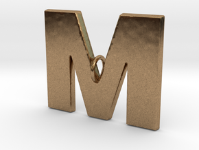 M Pendant in Natural Brass