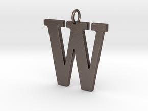 W Pendant in Polished Bronzed Silver Steel