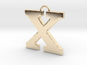 X Pendant in 14k Gold Plated Brass