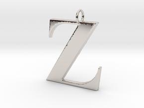 Z Pendant in Rhodium Plated Brass