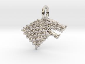Stark Sigil Keychain in Rhodium Plated Brass