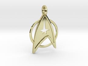 Star Trek Keychain in 18k Gold Plated Brass