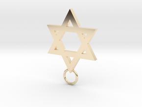 Star of David 2mm in 14k Gold Plated Brass
