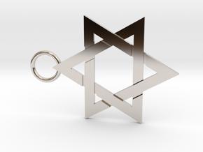 Star of David 1mm in Rhodium Plated Brass