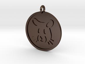 Hamster Pendant in Polished Bronze Steel