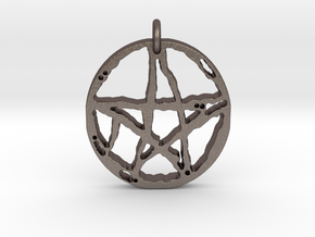Rugged Pentacle 1 by Gabrielle in Polished Bronzed Silver Steel
