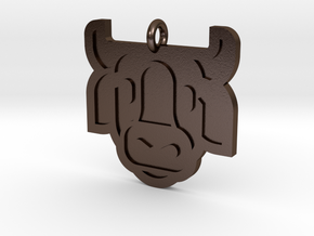Cow Pendant in Polished Bronze Steel
