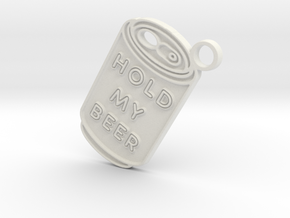 Hold My Beer Keyring in White Natural Versatile Plastic