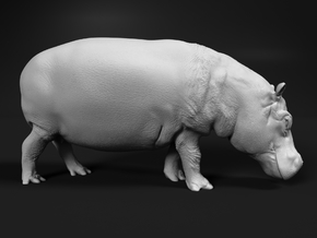 Hippopotamus 1:48 Walking Female in White Natural Versatile Plastic