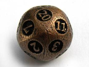 Overstuffed d20 in Polished Bronzed Silver Steel
