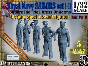 1/32 Royal Navy Sailors 54 mm. Set1-11 in Smooth Fine Detail Plastic