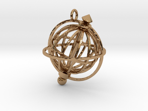Spinning Globe Pendant in Interlocking Polished Brass: Medium