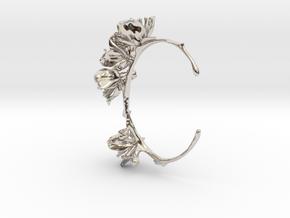 Cherry Blossom Bracelet in Rhodium Plated Brass: Medium