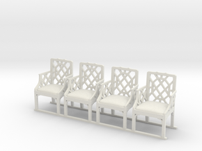 ArmChair 01. 1:24 Scale in White Natural Versatile Plastic