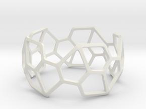 Catalan Bracelet - Pentagonal Hexacontahedron in White Natural Versatile Plastic: Large