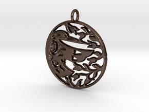 Native Alaskan Hummingbird Pendant in Polished Bronze Steel