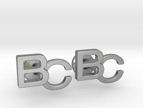 Monogram Cufflinks BC in Natural Silver