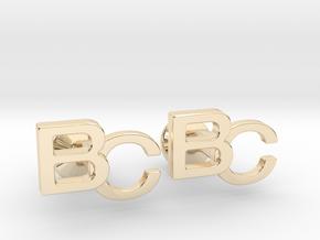 Monogram Cufflinks BC in 14k Gold Plated Brass