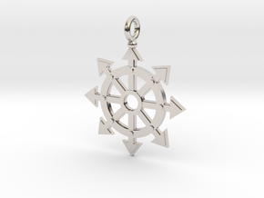 Chaos star wheel pendant in Rhodium Plated Brass