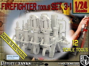 1/24 Firemen Tools Set 3-1 in White Natural Versatile Plastic
