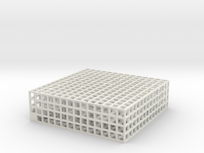 Maze 03, 2x7x7, 'Slab' in White Natural Versatile Plastic: Medium