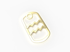 Aquarius Zodiac Sign Dog Tag in 18k Gold Plated Brass