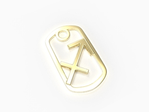 Sagittarius Zodiac Sign Dog Tag in 18k Gold Plated Brass