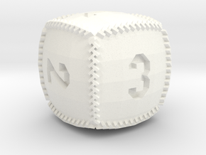 Baseball D6 in White Processed Versatile Plastic