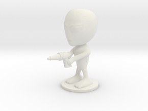 Little Alien with a Raygun in White Natural Versatile Plastic