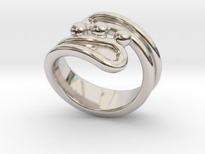 Threebubblesring 16 - Italian Size 16 in Rhodium Plated Brass