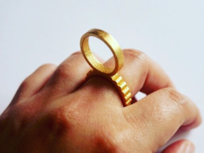 Double Ring Size 6 in Polished Gold Steel