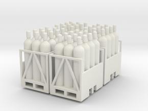 Acetylene Tanks On Pallet 4 Pack 1-87 HO Scale in White Natural Versatile Plastic