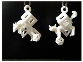 Fox In Polyhedrons Set in White Processed Versatile Plastic